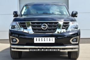 Nissan Patrol 2014- Защита переднего бампера d63 (секции) d63 (уголки)+d42 (зубы) PATZ-001726